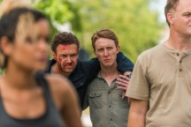 Ross Marquand as Aaron, Elizabeth Ludlow as Arat, Jordan Woods-Robinson as Eric, Jason Douglas as Tobin- The Walking Dead _ Season 7, Episode 8 - Photo Credit: Gene Page/AMC