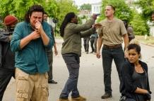 Josh McDermitt as Dr. Eugene Porter, Elizabeth Ludlow as Arat, Jason Douglas as Tobin- The Walking Dead _ Season 7, Episode 8 - Photo Credit: Gene Page/AMC