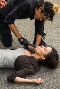 Christian Serratos as Rosita Espinosa, Elizabeth Ludlow as Arat- The Walking Dead _ Season 7, Episode 8 - Photo Credit: Gene Page/AMC