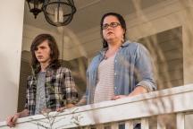 Chandler Riggs as Carl Grimes, Ann Mahoney as Olivia- The Walking Dead _ Season 7, Episode 8 - Photo Credit: Gene Page/AMC