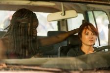 Danai Gurira as Michonne, Aerli Austin as Isabelle- The Walking Dead _ Season 7, Episode 8 - Photo Credit: Gene Page/AMC