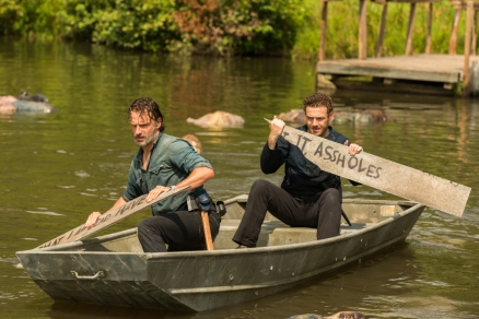 Andrew Lincoln as Rick Grimes, Ross Marquand as Aaron- The Walking Dead _ Season 7, Episode 8 - Photo Credit: Gene Page/AMC