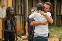 Andrew Lincoln as Rick Grimes, Danai Gurira as Michonne, Alanna Masterson as Tara Chambler, Lauren Cohan as Maggie Greene - The Walking Dead _ Season 7, Episode 8 - Photo Credit: Gene Page/AMC
