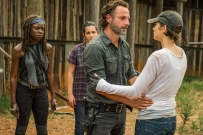 Lauren Cohan as Maggie Greene, Andrew Lincoln as Rick Grimes, Alanna Masterson as Tara Chambler, Danai Gurira as Michonne - The Walking Dead _ Season 7, Episode 8 - Photo Credit: Gene Page/AMC