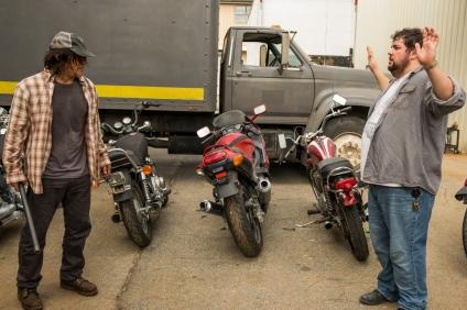 Norman Reedus as Daryl Dixon, Joshua Hoover as Fat Joey- The Walking Dead _ Season 7, Episode 8 - Photo Credit: Gene Page/AMC