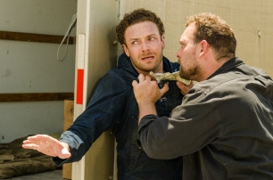 Ross Marquand as Aaron, Martinez as David- The Walking Dead _ Season 7, Episode 8 - Photo Credit: Gene Page/AMC