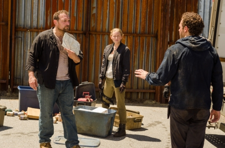 Ross Marquand as Aaron, Lindsley Register as Laura, Martinez as David- The Walking Dead _ Season 7, Episode 8 - Photo Credit: Gene Page/AMC
