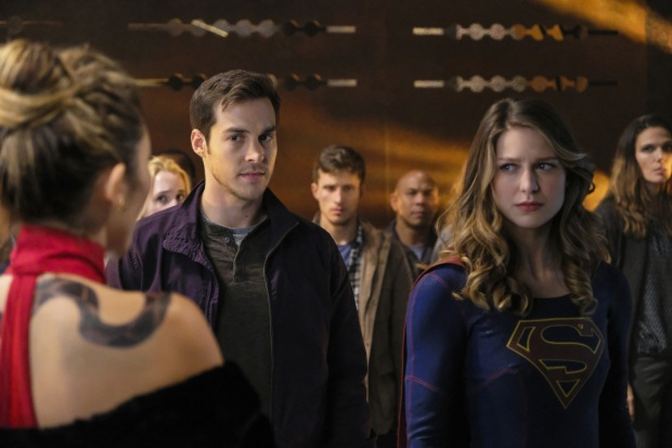 "Supergirl -- ""Supergirl Lives"" -- Image SPG209b_0078.jpg -- Pictured: (L-R) Dichen Lachman as Roulette, Chris Wood as Mike/Mon-El and Melissa Benoist as Kara/Supergirl -- Photo: Robert Falconer/The CW -- © 2017 The CW Network, LLC. All Rights Reserved"