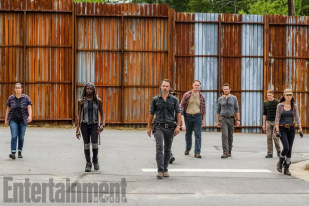 Alanna Masterson as Tara Chambler, Danai Gurira as Michonne, Andrew Lincoln as Rick Grimes, Chandler Riggs as Carl Grimes, Jason Douglas as Tobin, Ross Marquand as Aaron, and Christian Serratos as Rosita Espinosa
