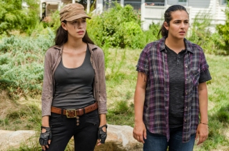 Alanna Masterson as Tara Chambler, Christian Serratos as Rosita Espinosa - The Walking Dead _ Season 7, Episode 9 - Photo Credit: Gene Page/AMC