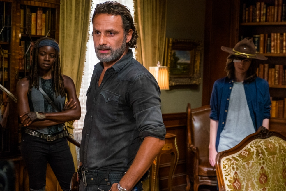 Danai Gurira as Michonne, Andrew Lincoln as Rick Grimes, Chandler Riggs as Carl Grimes - The Walking Dead _ Season 7, Episode 9 - Photo Credit: Gene Page/AMC