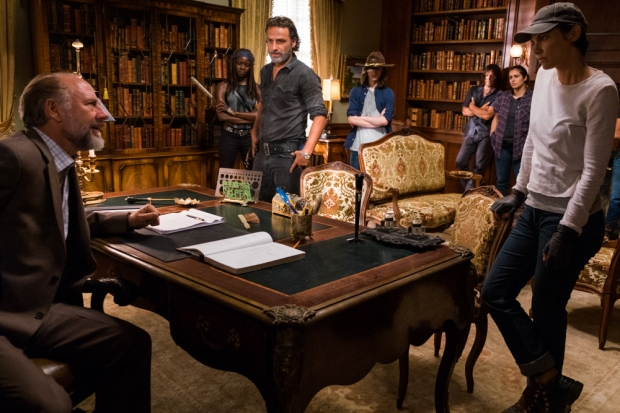 Xander Berkeley as Gregory, Danai Gurira as Michonne, Andrew Lincoln as Rick Grimes, Chandler Riggs as Carl Grimes, Norman Reedus as Daryl Dixon, Alanna Masterson as Tara Chambler, Lauren Cohan as Maggie Greene, Sonequa Martin-Green as Sasha Williams - The Walking Dead _ Season 7, Episode 9 - Photo Credit: Gene Page/AMC