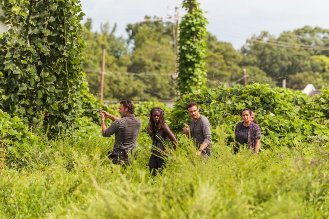 Andrew Lincoln as Rick Grimes, Danai Gurira as Michonne, Ross Marquand as Aaron, Alanna Masterson as Tara Chambler - The Walking Dead _ Season 7, Episode 9 - Photo Credit: Gene Page/AMC