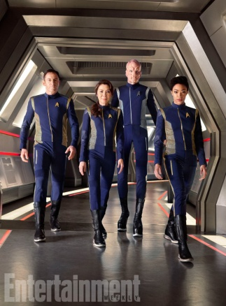 Star Trek: Discovery From left: Jason Isaacs, Michelle Yeoh, Doug Jones, Sonequa Martin-Green Photographed by Matthias Clamer on Sunday, July 9, 2017 at the Pinewood Toronto Studios in Toronto ON. FINAL, RETOUCHED FILE