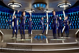 Star Trek: Discovery From left: Jason Isaacs, Michelle Yeoh, Shazad Latif, Doug Jones, Sonequa Martin-Green, Anthony Rapp, Mary Wiseman. Photographed by Matthias Clamer on Sunday, July 9, 2017 at the Pinewood Toronto Studios in Toronto ON. FINAL, RETOUCHED FILE
